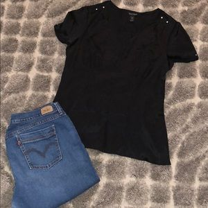 WHBM - Black Silk Blouse